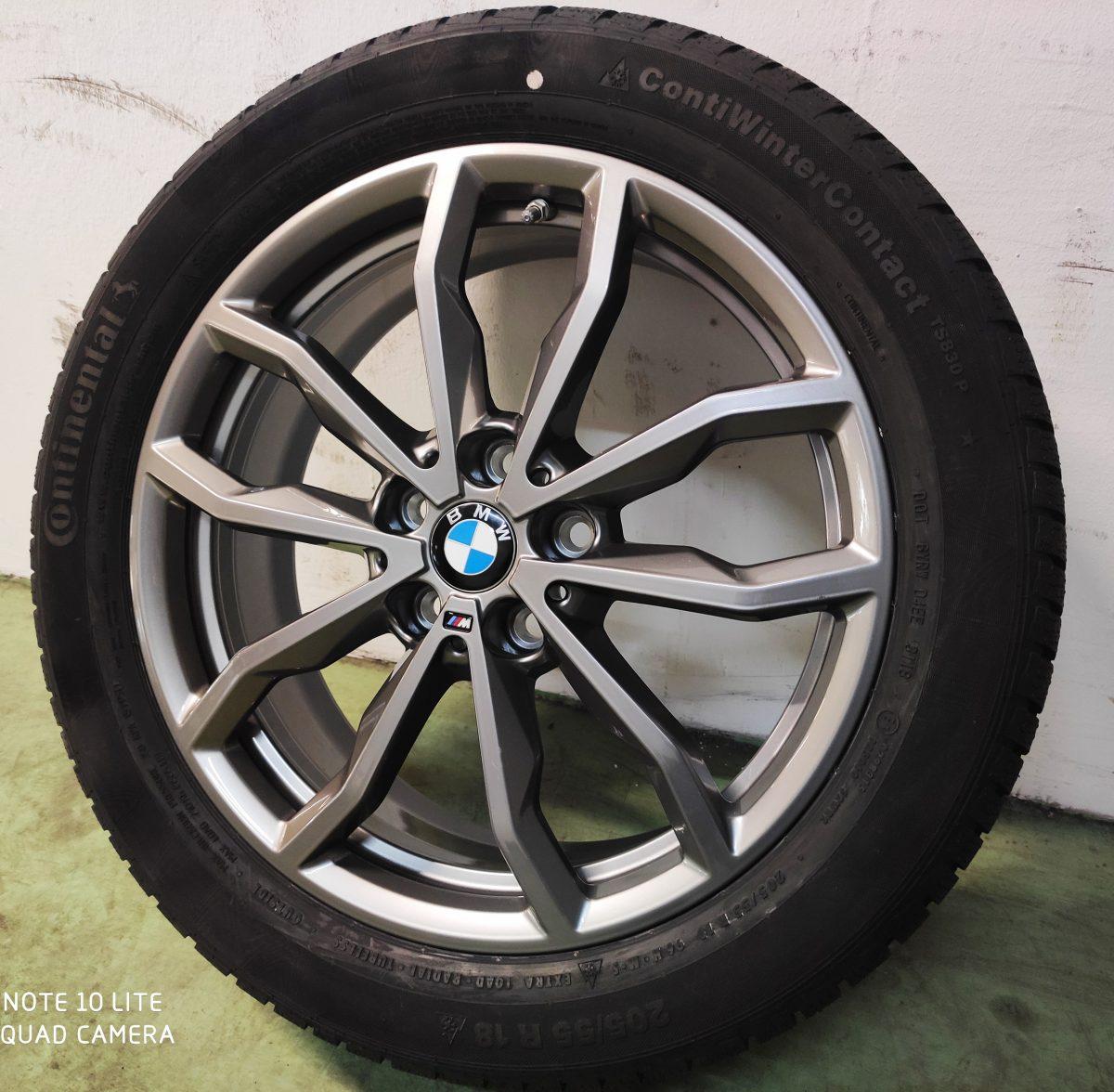 Gyári alufelni BMW X1-X2 F39-F48 (711M styl) 6,5X18Et41 205/55R18 Continental téli gumikkal. 1