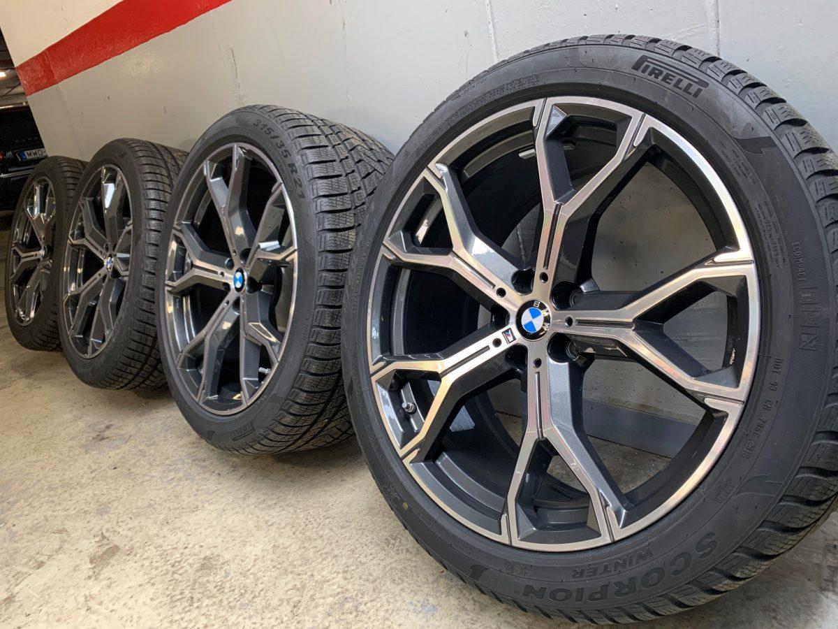 Gyári alufelni BMW X5 G05 (741M Style) 9,5X21-10,5X21 5X112 új télikerék- garnitúra! Pirelli defekttűrő gumikkal,nyomásszenzorral! 1